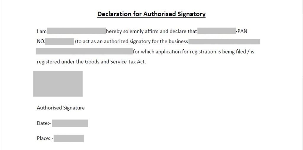 authorized signatory