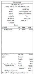 restaurant bill invoice format